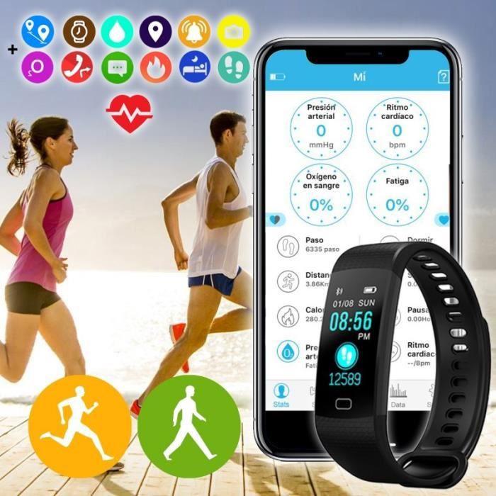 Montre Connecté Bracelet Y5 Smartwatch Podomètre Étanche IP67 pour Femmes Hommes Enfants Smart Watch Cardio Fitness Activité Tracker