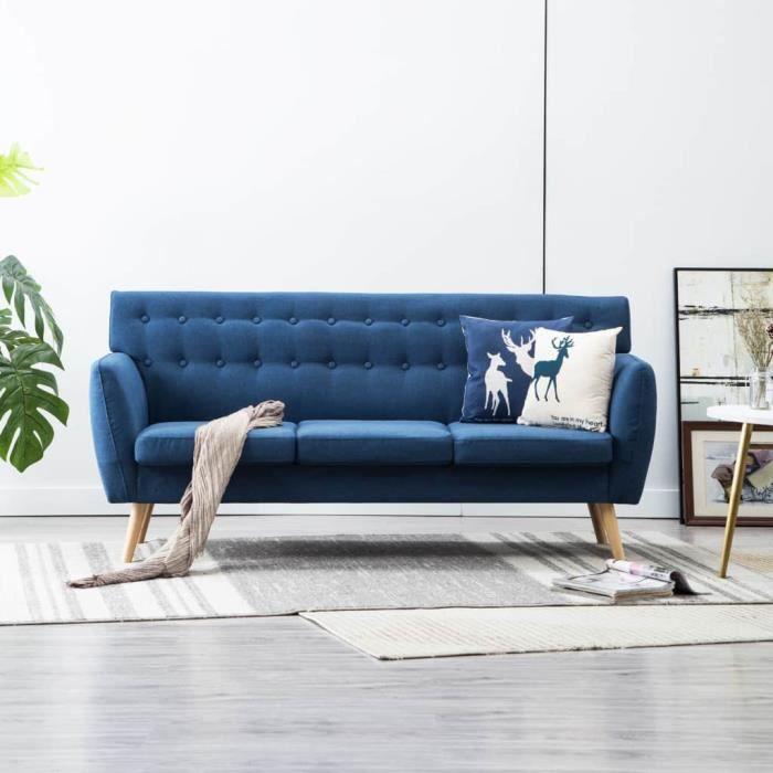 Canapé d'angle 3 places Bleu Tissu Pas cher Scandinave Relax