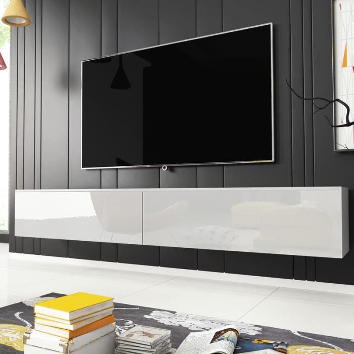 Meuble TV / Meuble de salon - KANE - 180 cm - blanc mat / blanc brillant - sans LED - style moderne