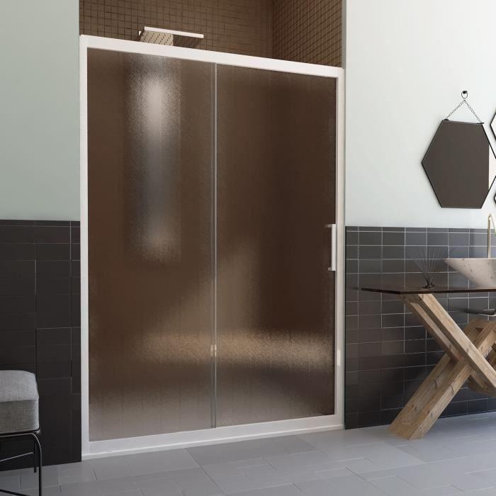 Porte de Douche en PVC 120 CM H190 Opaque Chinchilla mod. Glax Porte Unique Profil Blanc