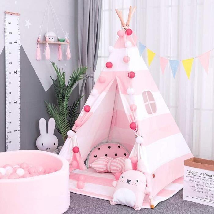 Jeux de plein air et sports AllRight Tipi Enfant Intérieur Jeu Tente Maison Jardin pour Enfants Fille Rose Rayure 58416