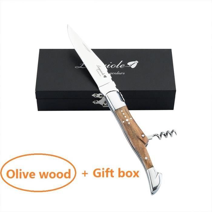 Tire-Bouchon,Laguiole ouvre bouteille en acier inoxydable, couteau, manche en bois, Sommelier, bière, ouvre - Type Olive Wood Box