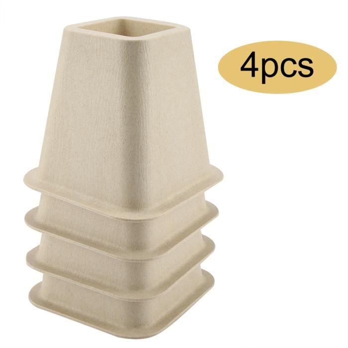 Lot de 4 Réhausseurs pieds de Meuble anti-glisse élévateur de Meuble en plastique Rehausseurs ronds de lit HB046