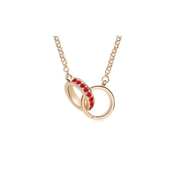 Sautoir Collier Menottes Cristal de Swarovski Elements Rouge et Plaqué Or Jaune