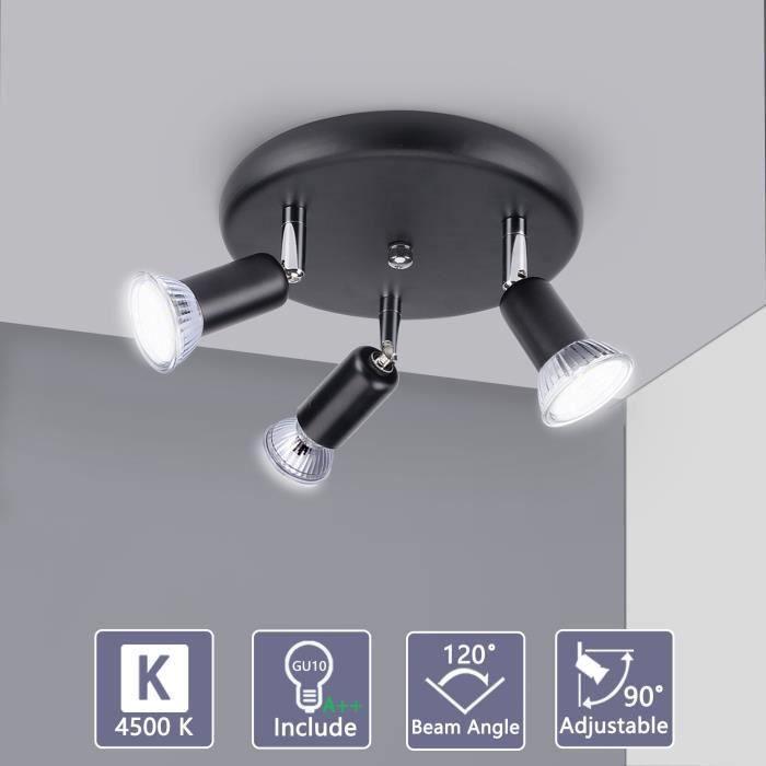 Bojim Luminaire Plafonnier Led, 3 Spots Noirs Orientables 350°, 3 x 6W Ampoules GU10, Blanc Neutre 4500K 230V 600 LM, IP20 Ra82
