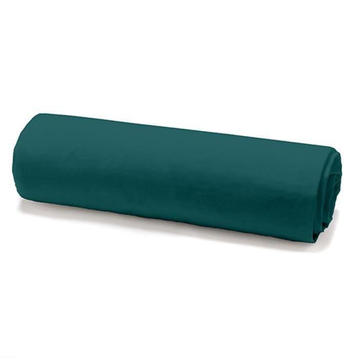 TODAY Drap housse 100% coton - 140 x 190 cm - Vert émeraude (Lot de 2)