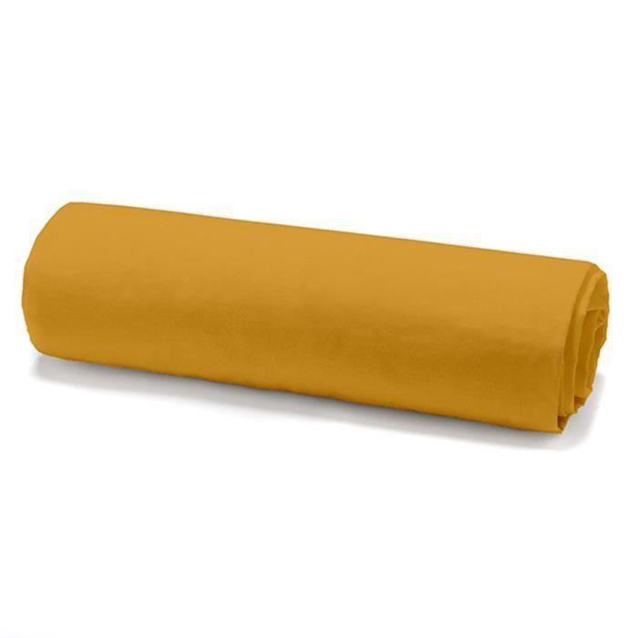 TODAY Drap housse 100% coton - 140 x 190 cm - Jaune safran (Lot de 2)