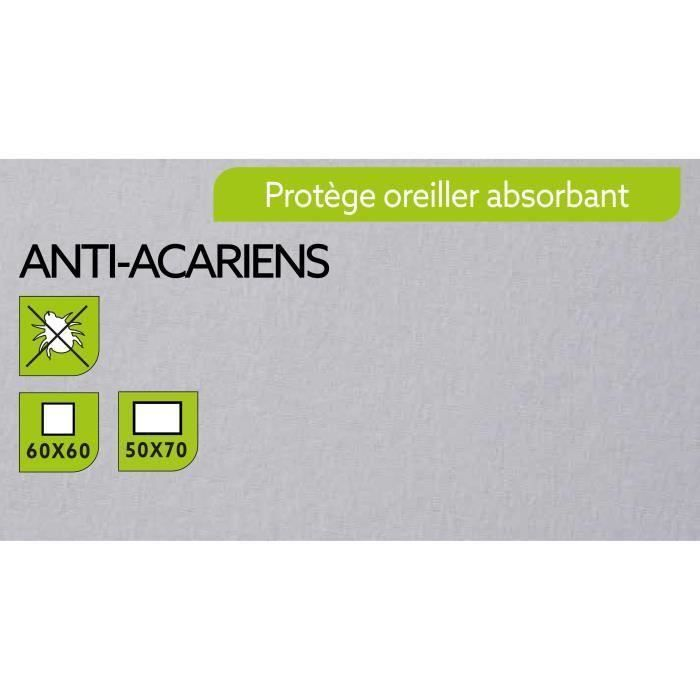TODAY Protège Oreiller Absorbant Anti-Acariens 50x70cm - 100% Coton (Lot de 3)