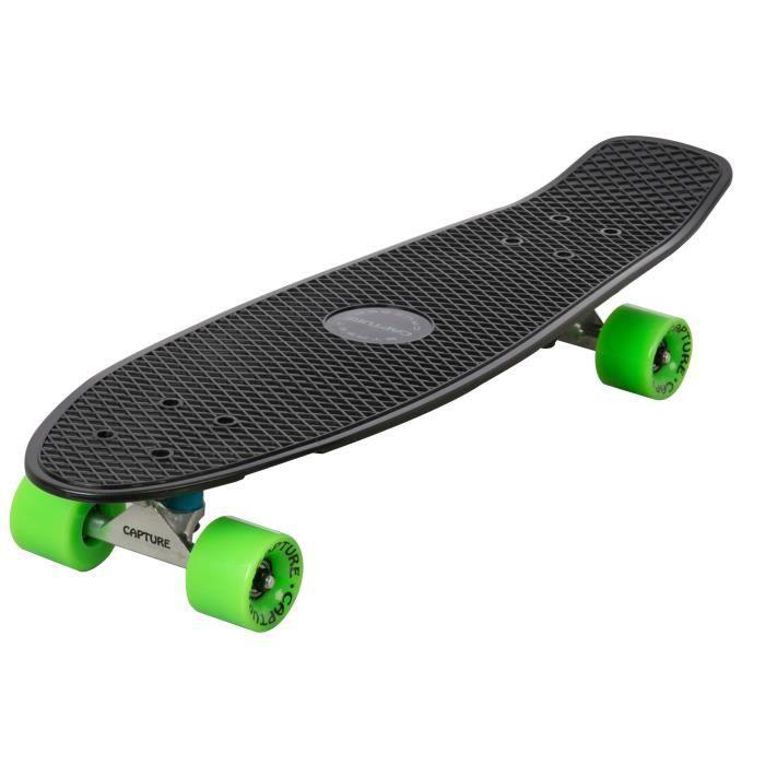 Capture Street Cruiser Skate 68.5cm 27-, Skateboard Rétro Vintage, Roulements ABEC-7, pour la pratique en ville, parcs, …