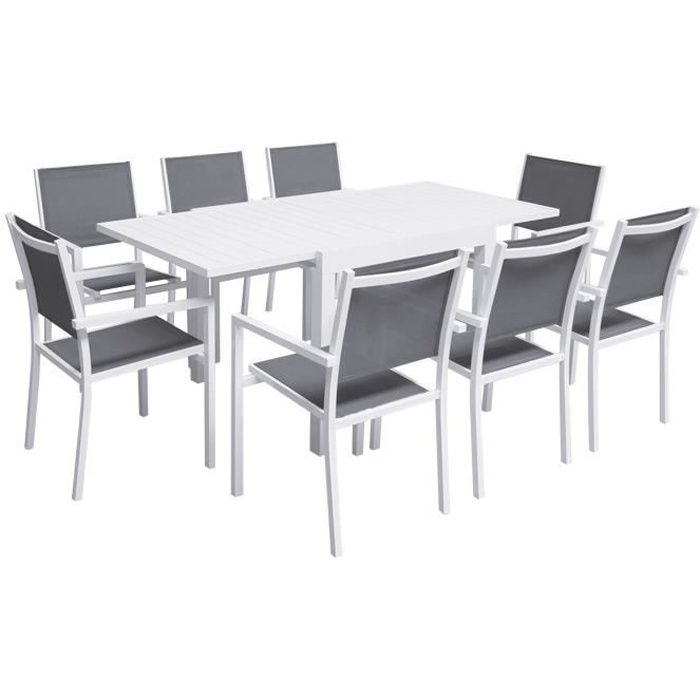 Salon de jardin VENEZIA extensible 90/180 en textilène gris 8 places - aluminium blanc Blanc