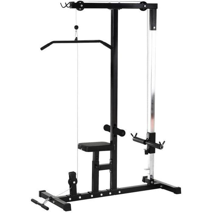 Station de musculation pour tirage poitrine - lat pulldown machine - banc de musculation dim. 103L x 120I x 180H cm acier noir