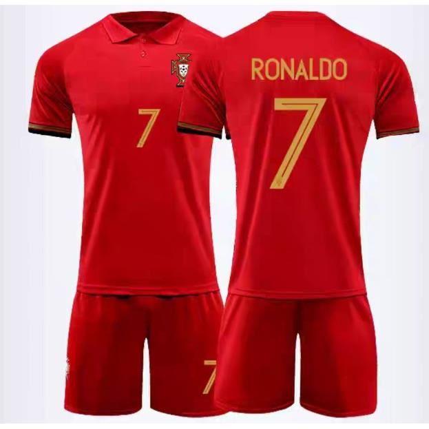 Portugal #7 Ronaldo maillot de Foot Football Soccer(Top+Short)Kit Suit 2020 - 2021 Pas Cher pour Homme
