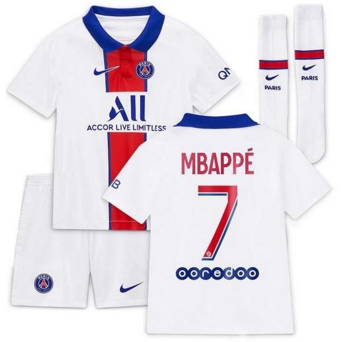 Mini-Kit Officiel Enfant Nike PSG Paris Saint-Germain Extérieur Saison 2020-2021 Flocage Officiel Numéro 7 Mbappé