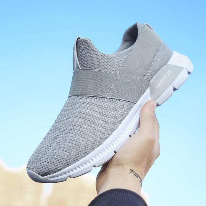 Chaussures de sport respirantes à la mode pour hommes, chaussures de course légères, baskets grise