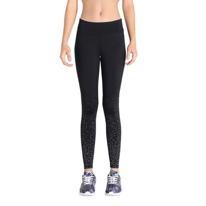 Pantalon de course réfléchissant taille haute extérieure leggings de yoga tendus - Taille BANC DE MUSCULATION