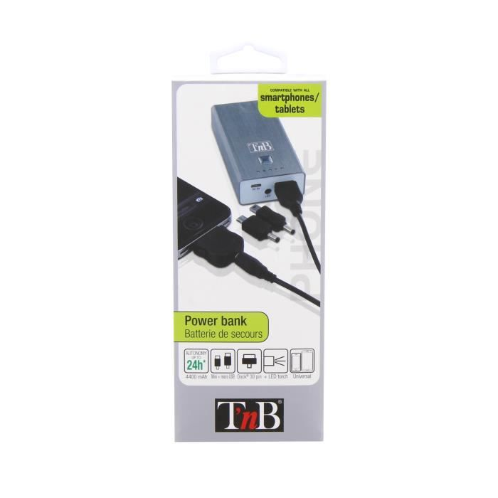 Batterie universelle de recharge pour smartphone et tablette Elle est livrée avec un câble possédant 3 embouts interchangeables :...
