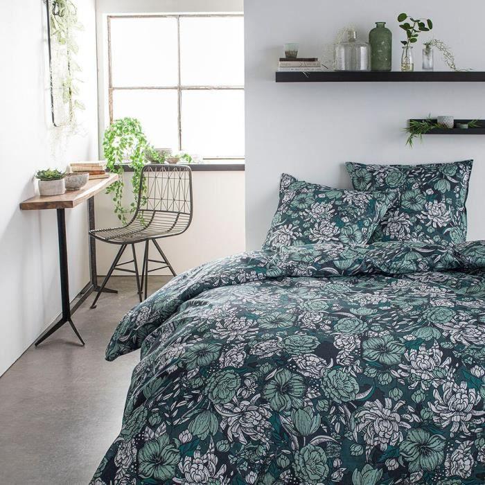TODAY Parure de lit SUNSHINE 5.37 - 2 personnes - 220 x 240 cm coton - Imprimé Vert Floral TODAY