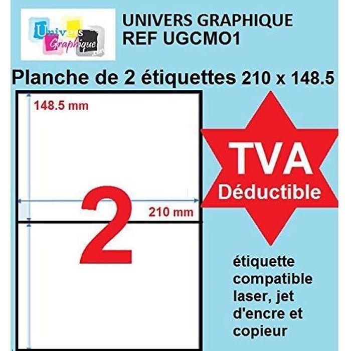 1000 étiquettes 210 x 148.5 mm autocollantes - soit 500 feuilles A4 - planche de 2 étiquettes adhésive A5 210 x148.5 Réf UNIVERS GRA