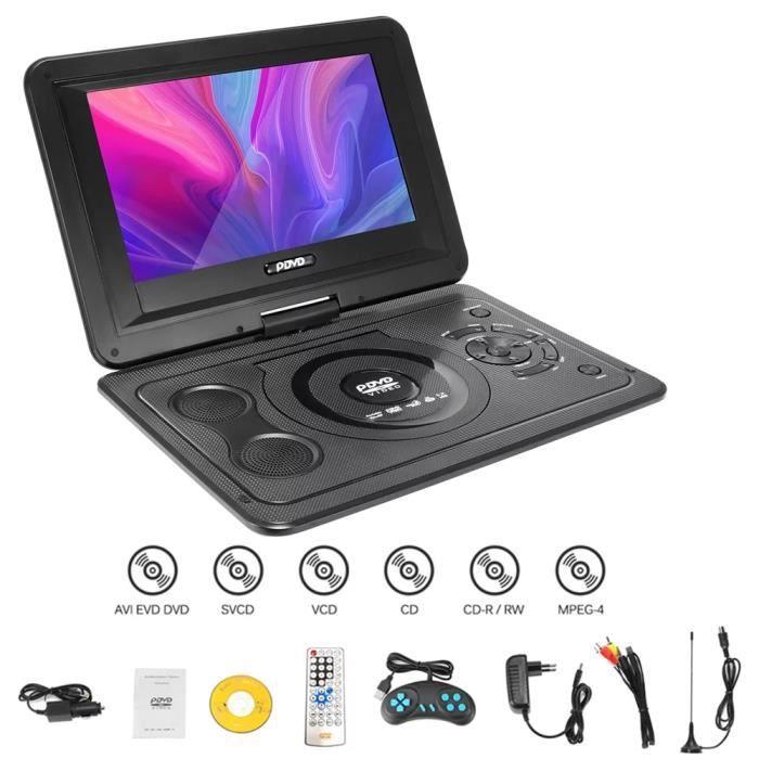 13.9'' Lecteur DVD portable avec Écran 10.1'' Batterie Rechargeable Intégrée Rotatif USB SD MP4 MP3 MS MMC TV AV SVC VCD CD CD-R RW