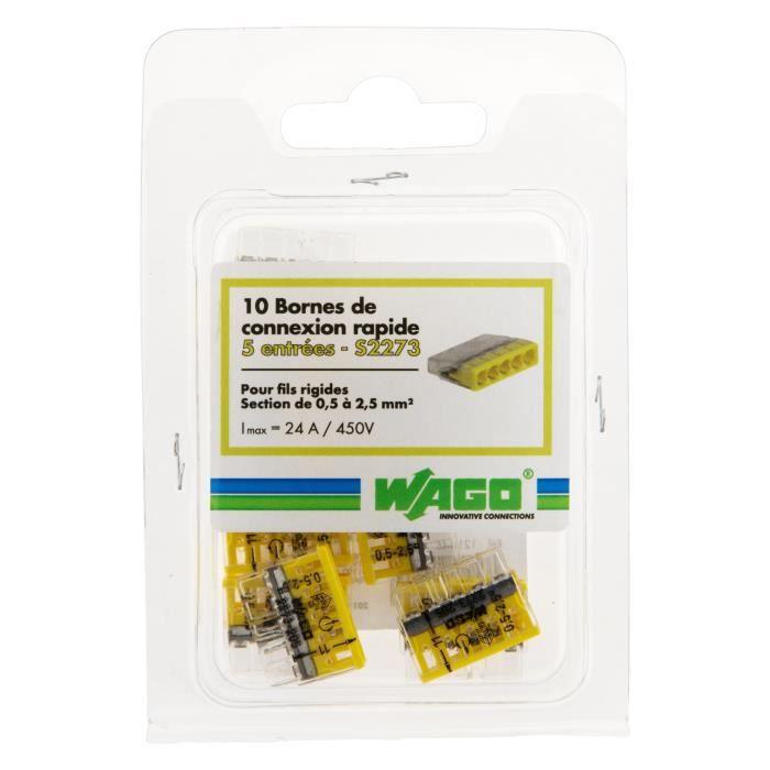 Lot de 10 mini bornes de connexion rapide S2273 pour fils rigides - 5 entrées