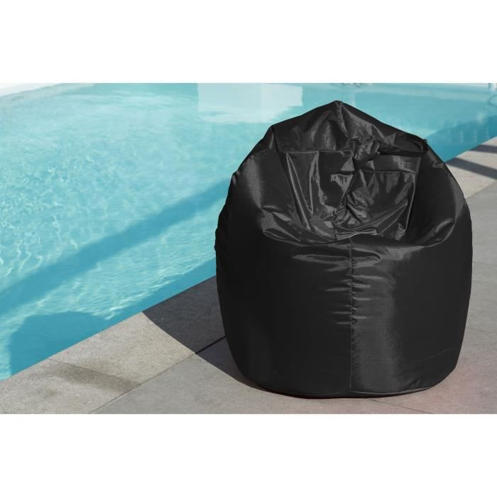 pouf poire imperm able in outdoor noir 80x120cm achat vente pouf poire cdiscount. Black Bedroom Furniture Sets. Home Design Ideas