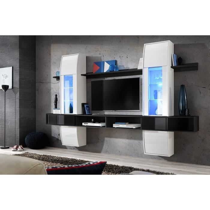 meuble tv design suspendu pour salon commette corps blanc et noir mat fa ades blanches et. Black Bedroom Furniture Sets. Home Design Ideas