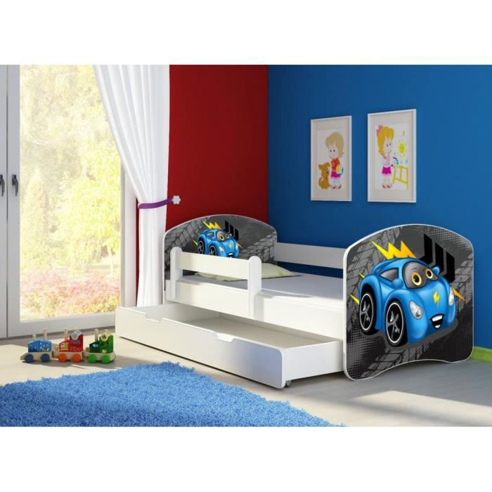 lit tiroir 140 x 70 voiture bleu achat vente lit. Black Bedroom Furniture Sets. Home Design Ideas