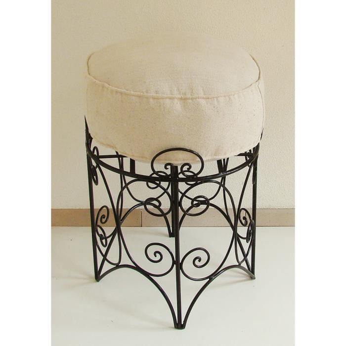 tabouret pouf marocain en fer forg plein large assise salon maroc sidari riad achat vente. Black Bedroom Furniture Sets. Home Design Ideas