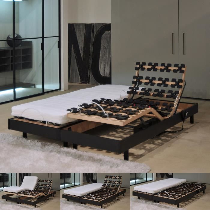 flexpalace ensemble sommier l ctrique relax matelas 160x200 cm 2 places m moire de forme. Black Bedroom Furniture Sets. Home Design Ideas