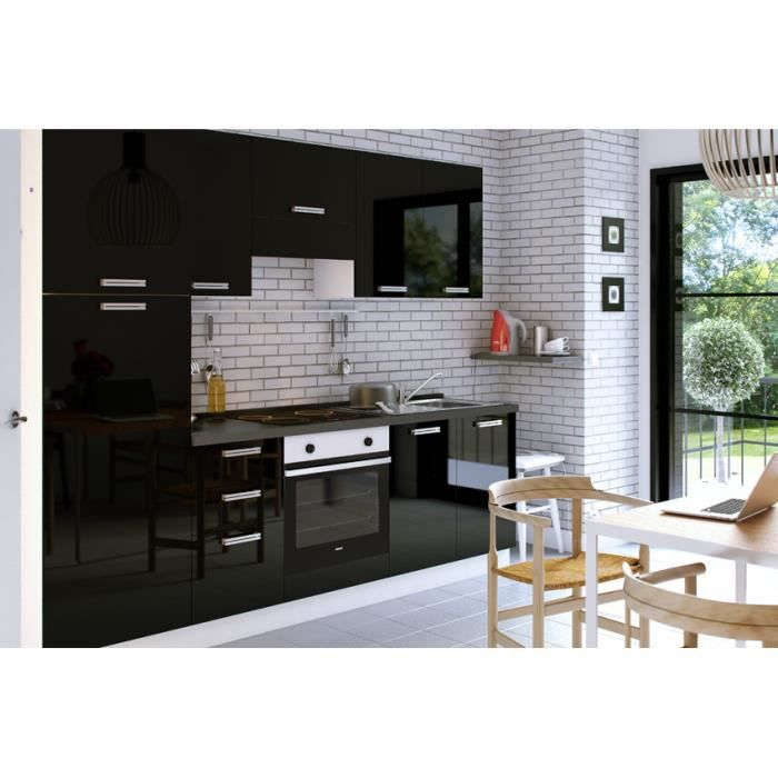 aquila noir cuisine quip e 255 cm achat vente cuisine. Black Bedroom Furniture Sets. Home Design Ideas