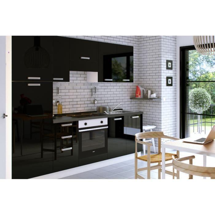 Aquila Noir Cuisine Equipee 255 Cm Achat Vente Cuisine