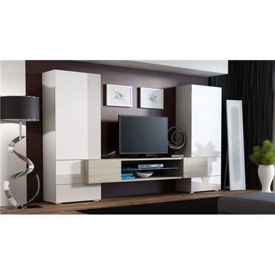 meuble tv mural design troy blanc et bois achat vente. Black Bedroom Furniture Sets. Home Design Ideas
