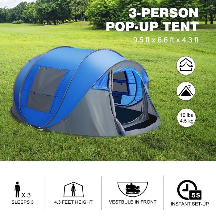 TENTE DE CAMPING Finether Tente de Camping Familiale-3 à 5 Places-2