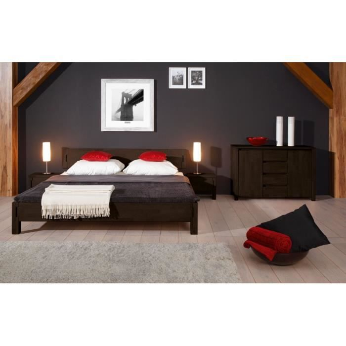lit contemporain bois massif oslo weng achat vente structure de lit lit contemporain bois. Black Bedroom Furniture Sets. Home Design Ideas