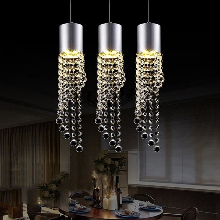 suspension led cristal 3 ampoules pour bar jaune achat vente suspension led cristal 3 am. Black Bedroom Furniture Sets. Home Design Ideas