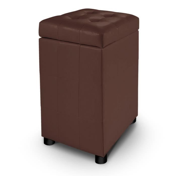 pouf coffre capitonn kubotower marron achat vente pouf poire cdiscount. Black Bedroom Furniture Sets. Home Design Ideas
