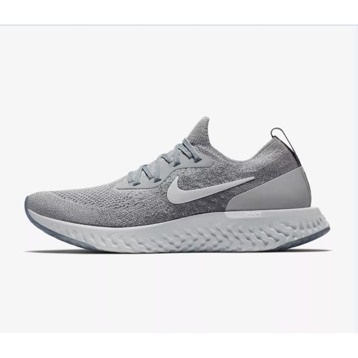 be832c933e674 Baskets NIKE Epic React Flyknit Chaussure de running pour Homme Femme Gris