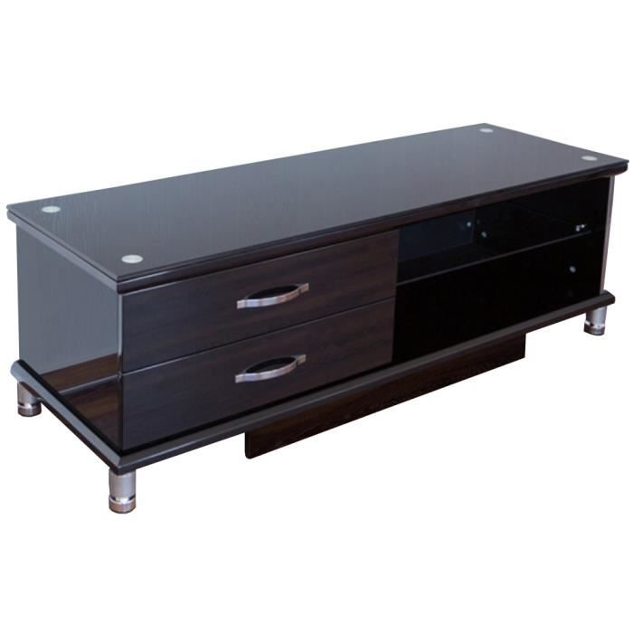 meuble tv en bois coloris noir h40 x l140 x p40 cm achat vente meuble tv meuble tv en bois. Black Bedroom Furniture Sets. Home Design Ideas