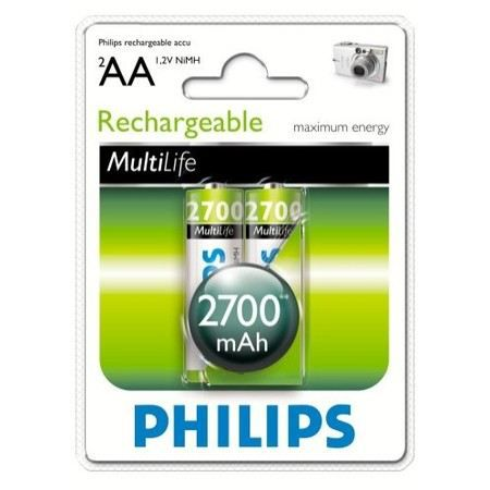 philips 2 piles rechargeable aa lr06 2700mah achat vente piles cdiscount. Black Bedroom Furniture Sets. Home Design Ideas