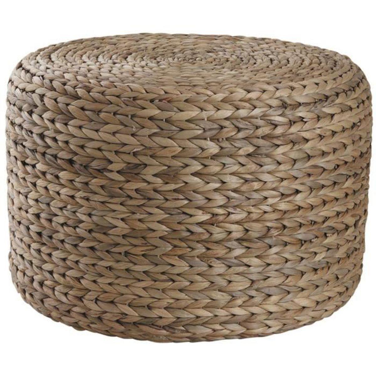 Pouf Jonc De Mer pouf rond en jacinthe avec mousse intérieure, Ø 45 x h 30 cm