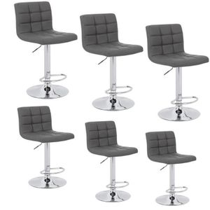 TABOURET DE BAR GRIS Lot De 6 Chaise Bar MODERN