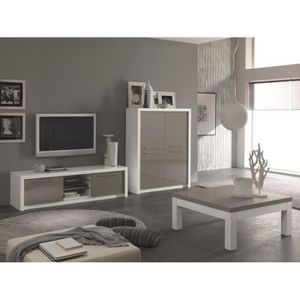 meubles tv blanc et gris laque achat vente meubles tv. Black Bedroom Furniture Sets. Home Design Ideas