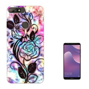 003388 Rose Silhouette Colourful Background Design Huawei Y7 2018