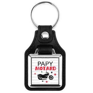 PORTE-CLÉS Porte-Clés Carré Cuir Papy Motard - Moto fond blan