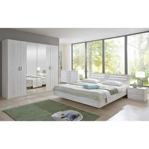ETABLI - MEUBLE ATELIER Chambre adulte 140 X 190 cm imitation chêne blanc/