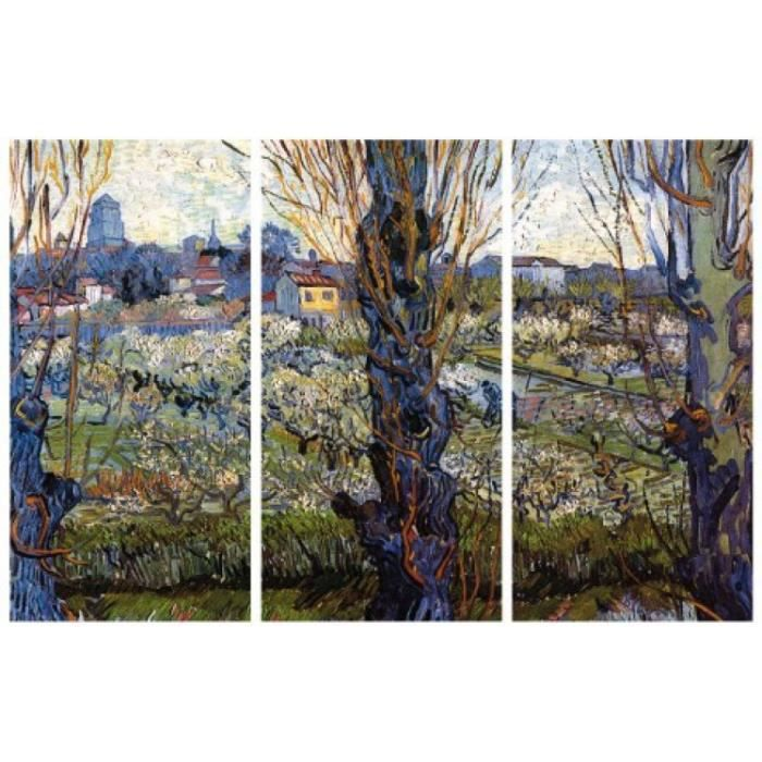 vincent van gogh poster reproduction sur toile tendue sur ch ssis vue d arles avec verger en. Black Bedroom Furniture Sets. Home Design Ideas