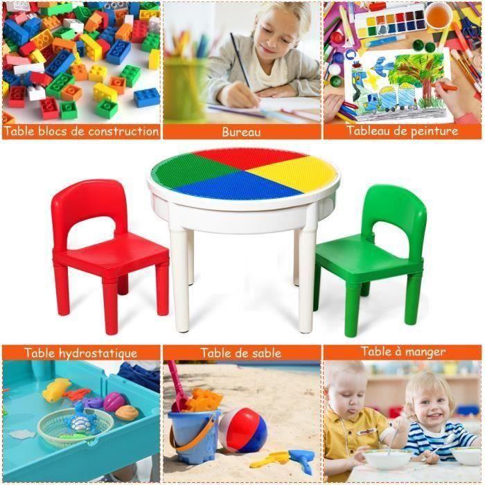COSTWAY Table Sable et 2 Chaises pour Enfants 5 en 1 Multi-Usage Table de Jeu avec 300 Blocs de Constructions pour 3 ans +