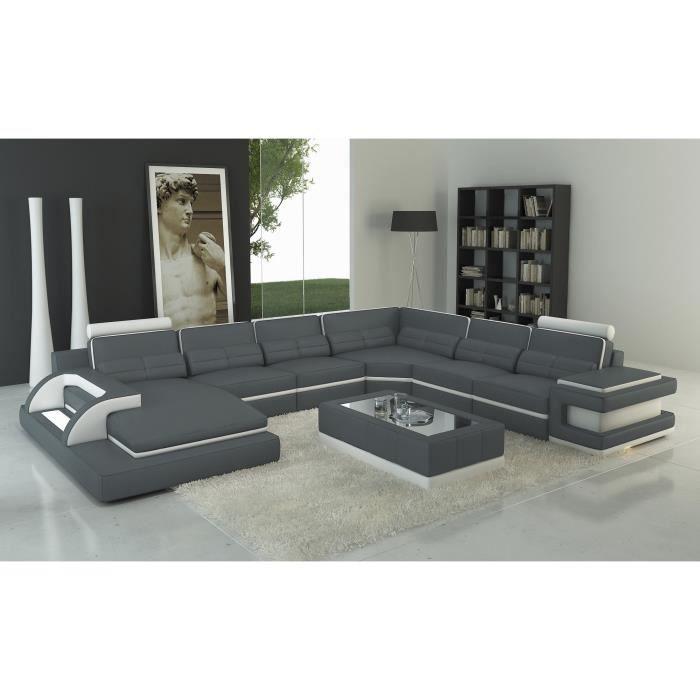 Canapé d'angle panoramique design cuir gris et blanc