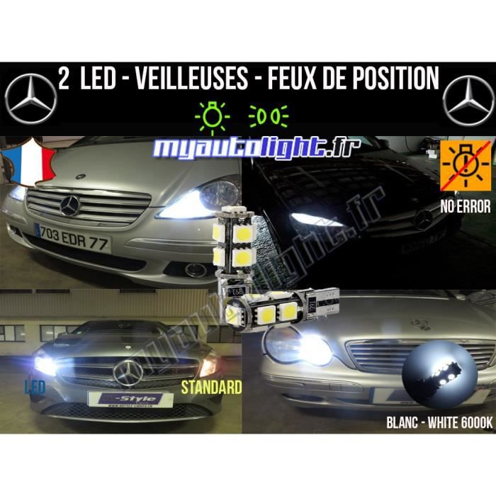 Ampoules Feux de position LED - Mercedes ML- W5W blanc Xénon