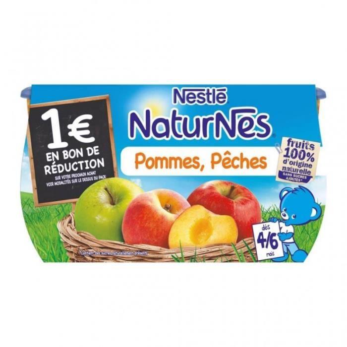 Nestlé Naturnes Pommes Pêches (dès 4-6 mois) par 4 pots de 130g (lot de 6 soit 24 pots)